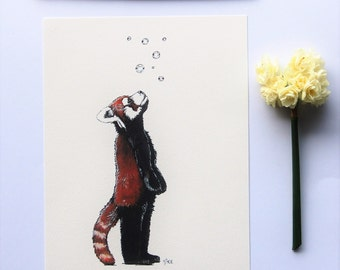 "Red panda illustration animal nursery print 6"" x 8"""