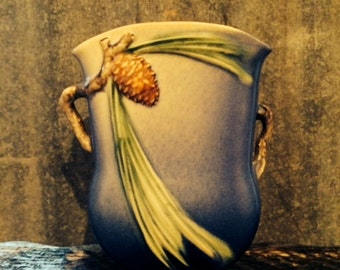 Vintage Roseville Pottery Blue Pine Cone Handled Pillow Vase 121-7
