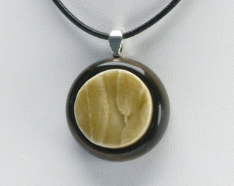 Contemporary jewelry, herb jewelry, plant necklace, clay jewelry, sage, texture pendant, ceramic jewelry, yellow necklace, pattern necklace