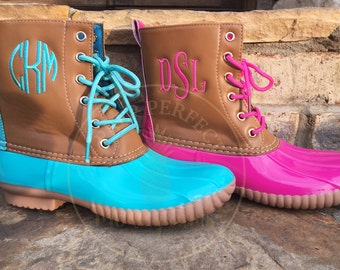Turquoise Monogrammed Duck Boots