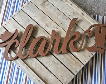 Cowboy Name Sign, Cowboy Nursery Decor, Western Baby Name Art, Name Sign, Name Wall Decal, Wood Letters, Unpainted, Painted, Metallic Gold