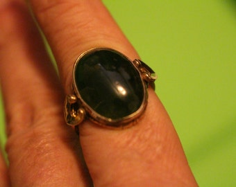 Jade Cabochon Ring gold filled Size 6