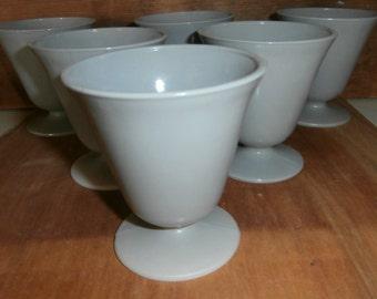 Vintage kitchen Hazel Atlas gray glass ovide platonite ice cream sundae cups set 6 footed serving cups or sherbets think Summer