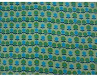Summer Green Flower Printed Needlecord / Baby Cord