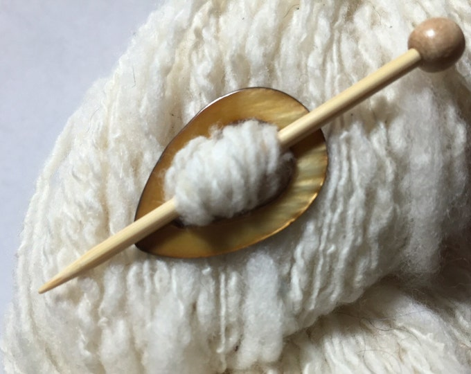 """Featured listing image: Shawl Pin Mother of Pearl Teardrop """"Heifer"""" for Lightweight, Lace, and Fingering Weight Knits"""