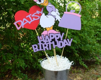 Daisy Duck Birthday Table Centerpiece, Mickey Mouse Birthday Decorations, Party Decorations, Mickey Mouse Clubhouse