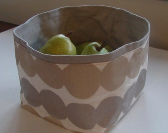 "Rasymatto fabric basket, gold, silver, gray, Christmas, Marimekko, 7x7"", Finland"