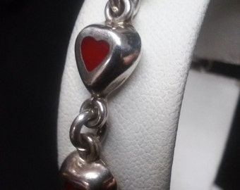 Love All Around With Hearts Valentines Day Heart Shaped Red Coral And Sterling Silver Bracelet
