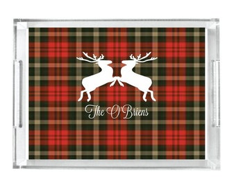 Personalized Reindeer Lucite Tray Personalized Acrylic Tray Home Decor Serving Tray Personalized Gift Acrylic Tray Insert Initial Tray