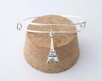 Eiffel Tower 3D charm bangle bracelet