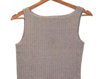 grey silver crop top sleeveless