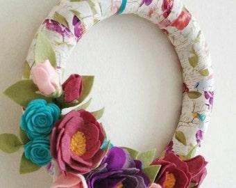 Felt Flower Spring Wreath--Spring Wreath--Felt Flower Wreath--Interchangeable Wreath--READY TO SHIP Wreath--Felt Floral Decor--Handcrafted