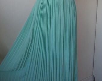 Fine Long Chiffon Pleated Skirt Aqua Green / Mint Color