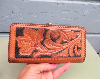 Tooled Leather Wallet Western Cowboy Checkbook Bag Purse 1960s 1970s Whipstitch Detail Vintage