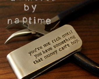 Hand Stamped Money Clip - Stamped with your phrase of choice! - Father Gift - Dad Gift - Personalized Money Clip - Custom Gift