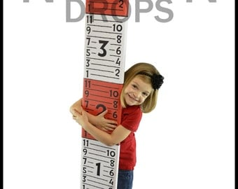 Photography Prop - RED and WHITE RULER Growth Chart Photography Prop - Giant growth ruler - Printed Life size Ruler photo prop 9inch x 60in