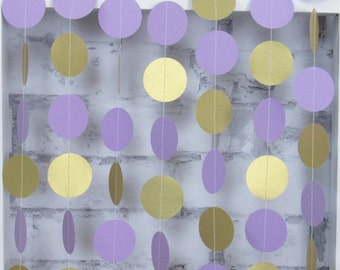 Gold and Lilac Garland - Shimmery Gold Circle Garland - Purple - Lilac Baby Shower Decorations - Lilac Bridal Shower Decor