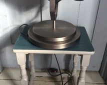 Annie Sloan Painted Furniture -Vintage Lamp Table hand painted in Grand Illusions Zinc Chalk Paint and Annie Sloan Aubusson Blue Chalk Paint