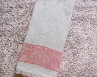 Vintage Pink Floral Damask Crocheted White Linen Guest Towel