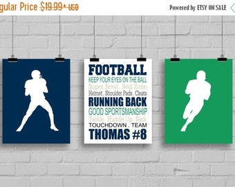 ON SALE Football Wall Art - Football Decor - Football Typography - Personalized Football Print - Playroom Decor - Sports Decor - Kids Room S