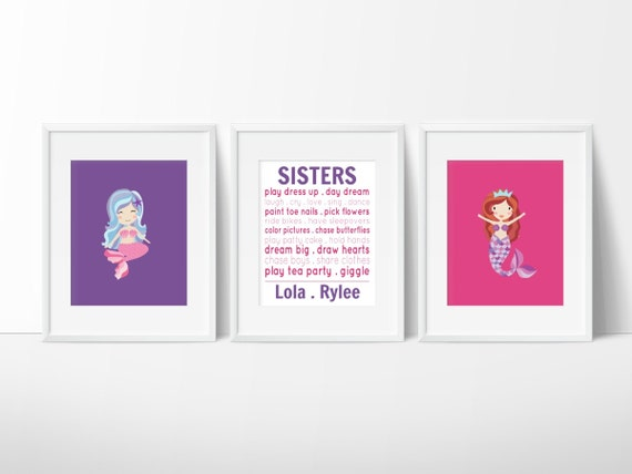 Sisters Wall Art Mermaid Sister Prints By Simplylovecreations