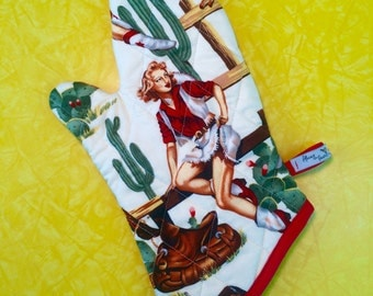Cowgirl blonde pin-up oven mitt