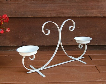 White Metal Plant Stand, Small Vintage Garden Plant Stand, White Wrought Iron Plant Stand, Table Top Plant Stand