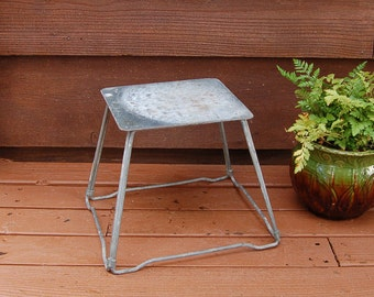 Rustic Metal Step Stool, Industrial Foot Stool, Rustic Wire Legged Milking Stool