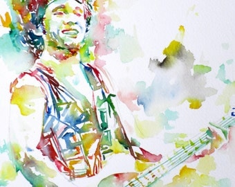 BRUCE SPRINGSTEEN - original watercolor portrait - one of a kind!