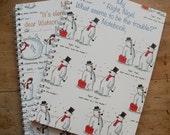 Set of 2 notebooks with lined paper / Snowmen / Christmas / Funny