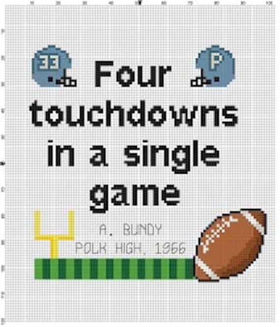 al bundy four touchdowns in a single game cross stitch. Black Bedroom Furniture Sets. Home Design Ideas