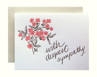 Letterpress Sympathy Card, Sympathy Flowers, Red, Brown, Vintage Retro, Mid Century Inspired, Hand Lettering, brush lettering, persimmon