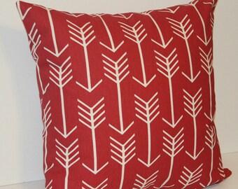 Pillow- Throw Pillow, Pillow Cover, Red Throw Pillows, Accent Pillow, Red Arrow Pillow Cover, Decorative pillow, Baby boy nursery pillow