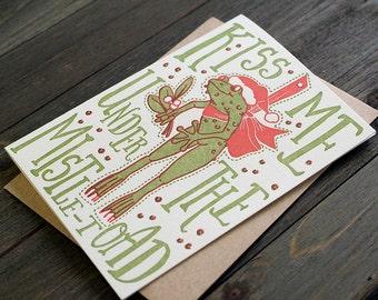 Mistletoad - Letterpress holiday card