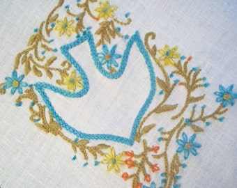 Hand Embroidered Vintage Blue Dove