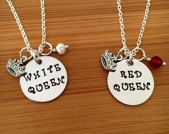 Friendship necklace-Alice through the looking glass friendship necklace-White Queen-Red Queen- best friend jewelry-set of 2-BFF