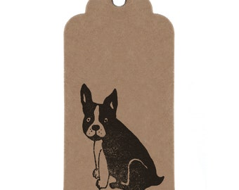 French Bulldog Gift Tags: Frenchie Handmade Kraft Parcel Tags.