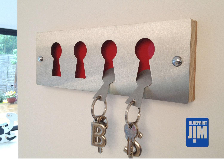 brushed stainless steel key rack  u0026 key fobs