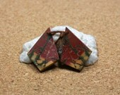 Red Creek Jasper Earring Pair - Red Yellow and Green Smooth Diamond Shaped Matched Pair