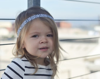 Simple, Bohemian Headband - Black and White - Geometric Print - Newborn to Adult Sizes - Elastic back to keep snug - Great for any outfit!