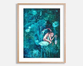 Deep Sea Despair, blue artwork by Lotte Teussink, underwater painting, sea painting, girl holding fish, pop surrealism, surreal art