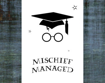 "Harry Potter Graduation Card  |  Mischief Managed  |  Blank Interior  |  Printable Digital Download  |  5x7"" A7"