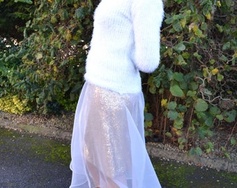 Custom made 'Sasha' sequin pencil skirt with organza overlay - high fashion street style fashionista skirt