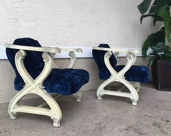 Vintage hollywood regency X base Lounge Chairs. Blue velvet