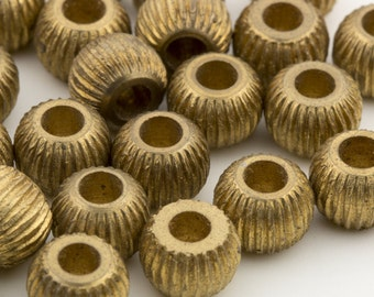 Vintage Brass Solid Metal Round Beads  6x5mm 24pcs for Jewelry and Crafts 10207002