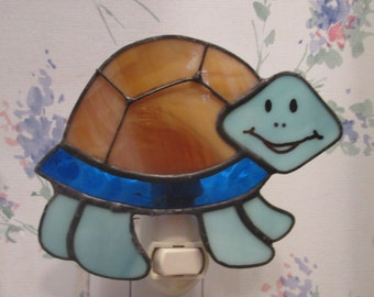 Cute Turtle Night Light - Brown and Cobalt Blue