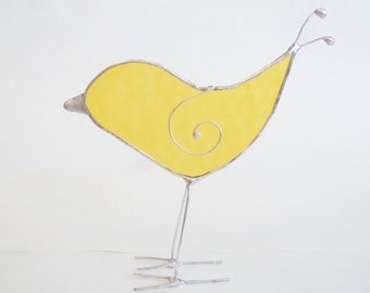 Stained Glass- Yellow Bird- Sun Catcher- Home Decor