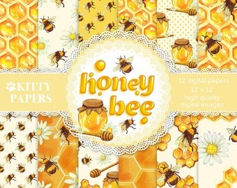 """Honey digital paper: """"Honey Bee"""" bee digital paper with bee images, honeycomb patterns, flowers and honey bees in orange and yellow"""