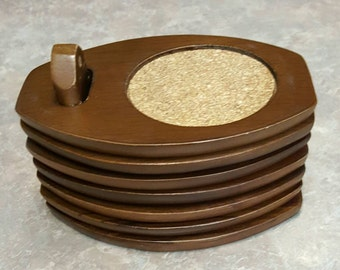 Modern 60s Teak Wood Set of 8 Drink Coasters from Hellerware Swank Mid Century Mod Coasters
