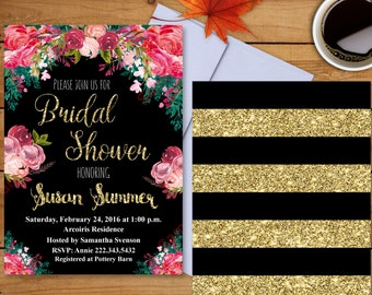 Bridal Shower Invitation - Bridal Shower Printable - Floral Bridal Shower - Flowers Invitation - Black/Glitter Invitation
